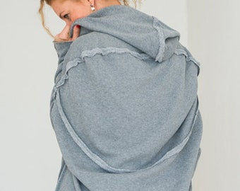 Women Sweatshirt, Plus Size Women Clothing, Loose Hoodie Sweater, Cotton Hooded Top, Boho Plus Size Top, Hooded Sweatshirt, Winter Tunic Top