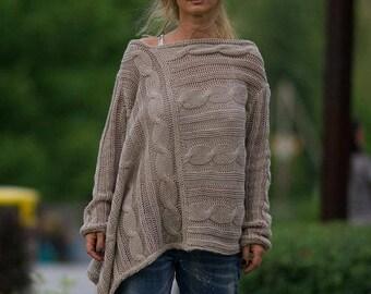 Loose Knit Sweater, Oversize Sweater, Chunky, Women Pullover, Black Sweater, Wool Sweater, Winter Sweater, Long Sweater, Tunic Sweater