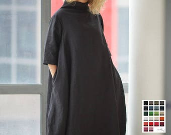 Maternity Dress, Linen Dress, Plus Size Clothing, Extravagant Dress, Black Maxi Dress, Gothic Dress, Oversized Dress, Kimono Dress, Japanese