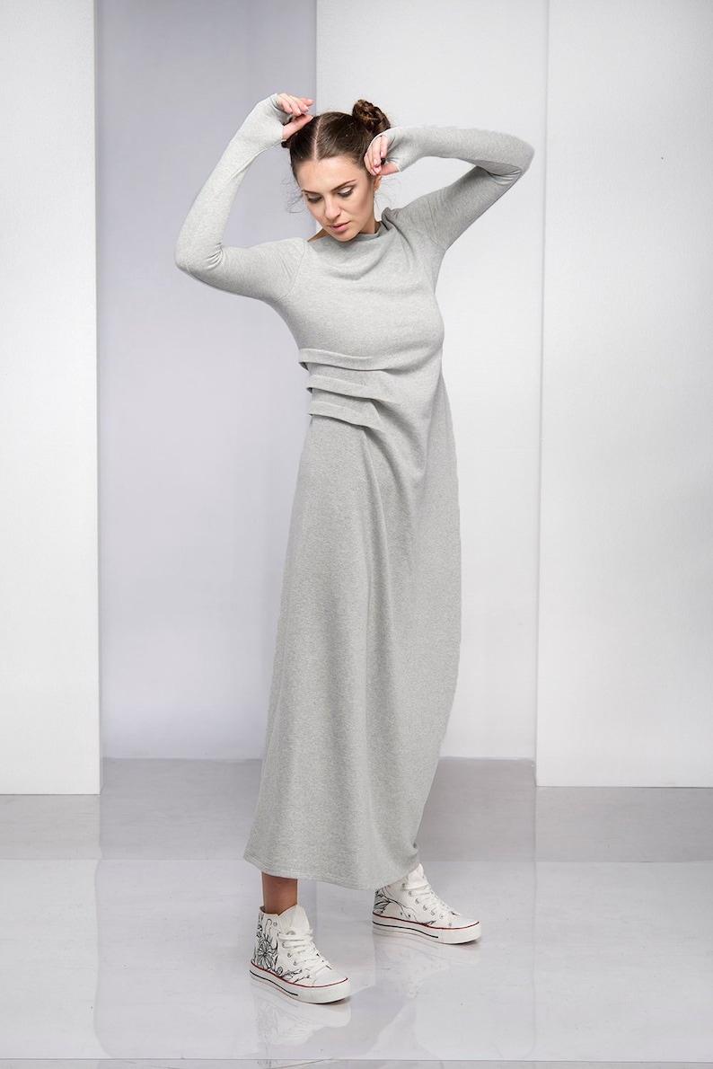 Dress For Women Gray Dress Maxi Dress Plus Size Clothing | Etsy
