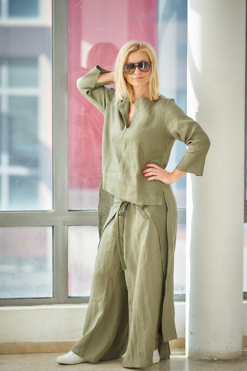 50988469fa5 Linen Set Linen Top Women Linen Pants Two Piece Set Long