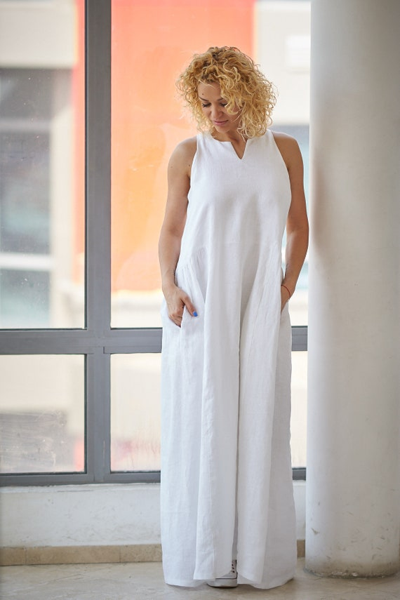 White Linen Dress, Linen Maxi Dress, Plus Size Dress, Summer Dress, Linen  Wedding Dress, Sleeveless Dress, Casual Wedding Dress, Maxi Dress