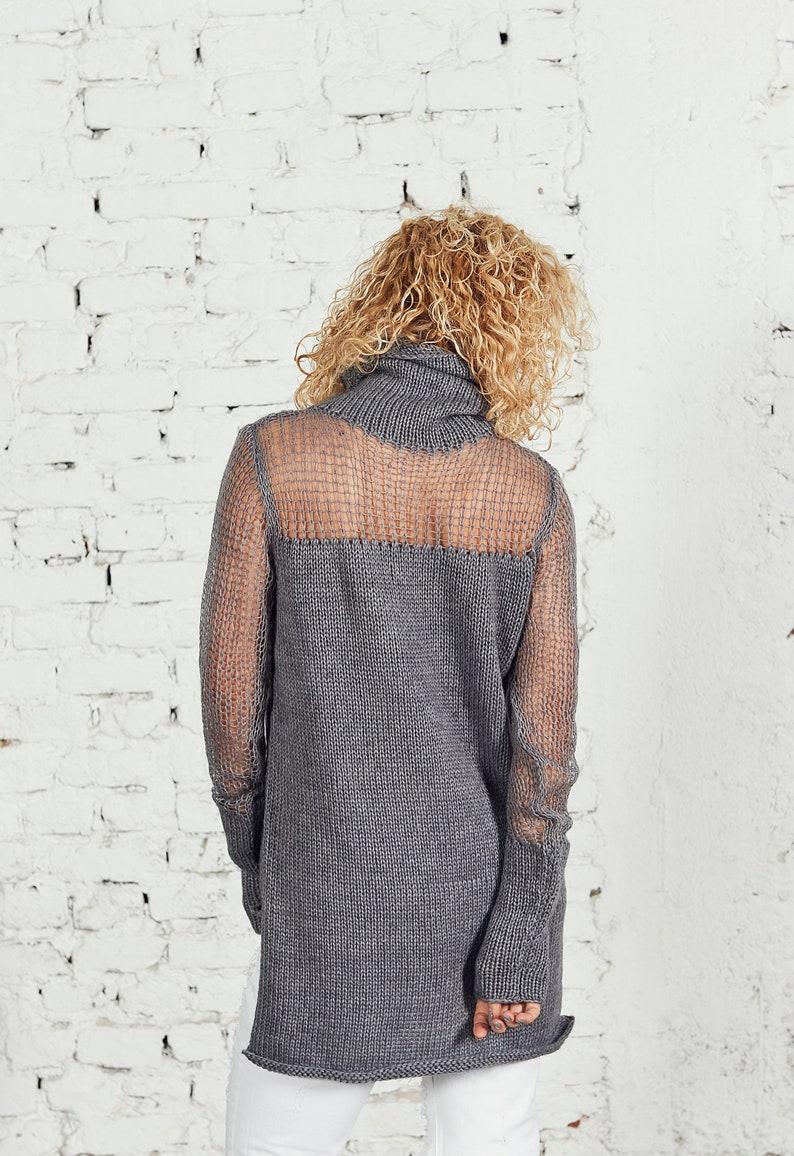 Women Knit Sweater Knit Tunic Top Sheer Sweater Long Knit Sweater Winter Sweater for Women Maxi Wool Sweater Plus Size Clothing