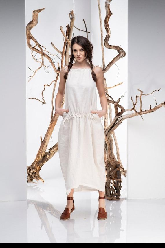 Women Maxi Dress, Loose Linen Dress, Pocket Dress, Plus Size Clothing,  Minimalist Dress, Bohemian Dress, Plus Size Linen, Cream Dress