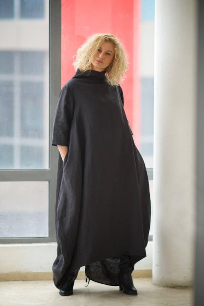 9bcb7b4a04cd7 Black Maxi Dress Linen Dress Plus Size Clothing Extravagant   Etsy