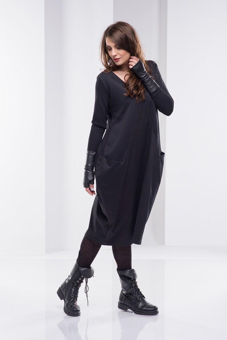Women Black Dress, Midi Dress, Plus Size Clothing, Cotton Dress, Long  Sleeve Dress, Plus Size Midi Dress, Long Dress, Oversize Dress, Gothic