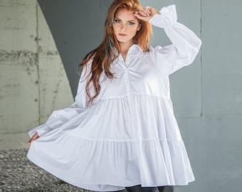 Fall Shirt for Women, Pirate Shirt Plus Size, Victorian Shirt, Ruffle Cuff Shirt, Romantic Shirt, White Cotton Shirt, Plus Size Clothing