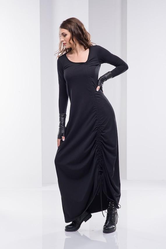 Women Black Dress, Long Dress, Plus Size Dress, Gothic Dress, Maxi Dress,  Steampunk Dress, Bohemian Clothing,Oversize Dress, Women Clothing