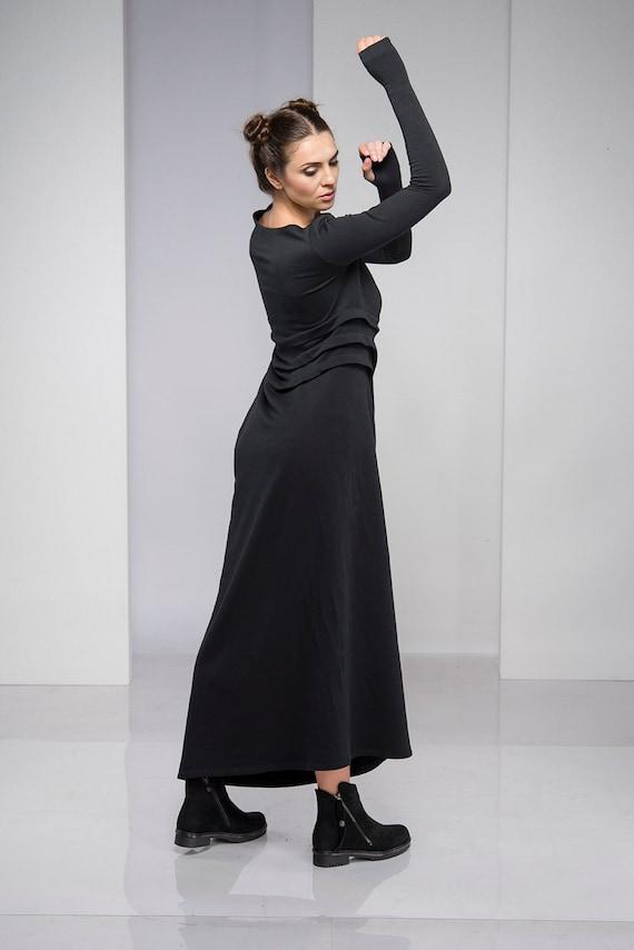Plus Size Dress, Maxi Dress, Women Dress, Long Black Dress, Gothic Dress,  Steampunk Dress, Oversized Dress, Long Sleeve Dress, Spring Dress