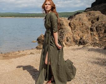 Linen Maxi Dress, Women Linen Dress Military Green, Linen Kaftan, Long Wrap Linen Dress, Linen Summer Dress, Linen Belt Dress,Linen Clothing