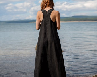 Linen Dress for Women, Maxi Dress, Minimalist Black Dress, Linen Summer Dress, Plus Size Linen Clothing, Black Linen Dress, Sleeveless Dress