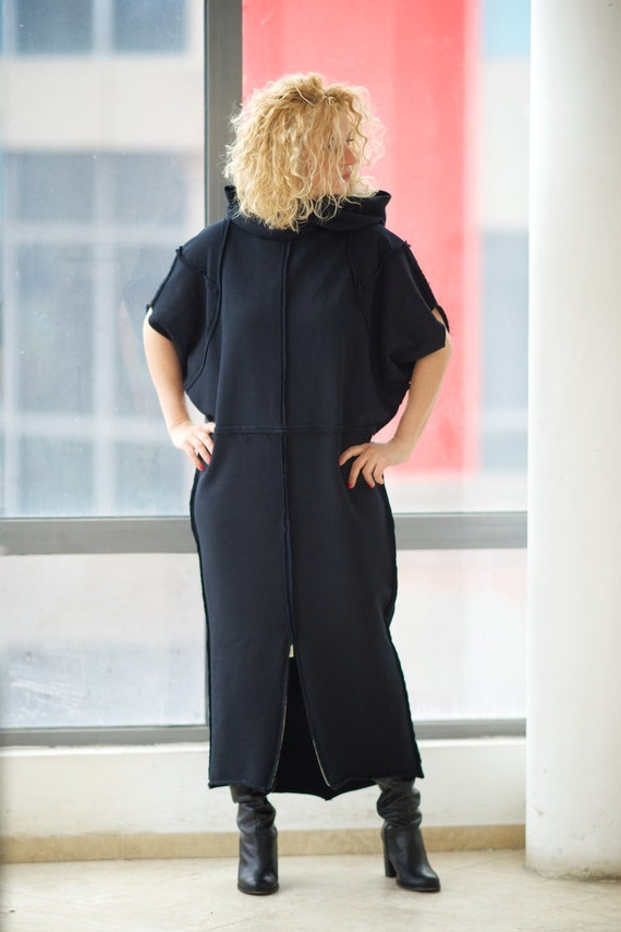 Black Hoodie Dress Women Maxi Dress Black Maxi Tunic Plus Etsy