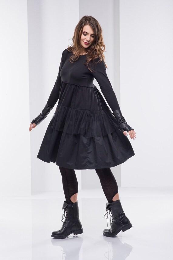 bb03fb7a275 Women Black Dress Short Dress Plus Size Dress Long Sleeved