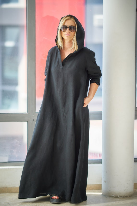 Black Linen Dress, Linen Clothing, Plus Size Linen Caftan Dress, Linen  Abaya, Plus Size Linen Maxi Dress,Black Maxi Dress,Loose Hooded Dress