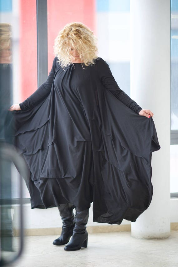 Plus Size Clothing, Plus Size Maxi Dress, Gothic Dress, Kimono Dress,  Oversized Dress, Long Black Dress, Plus Size Dress, Steampunk Dress