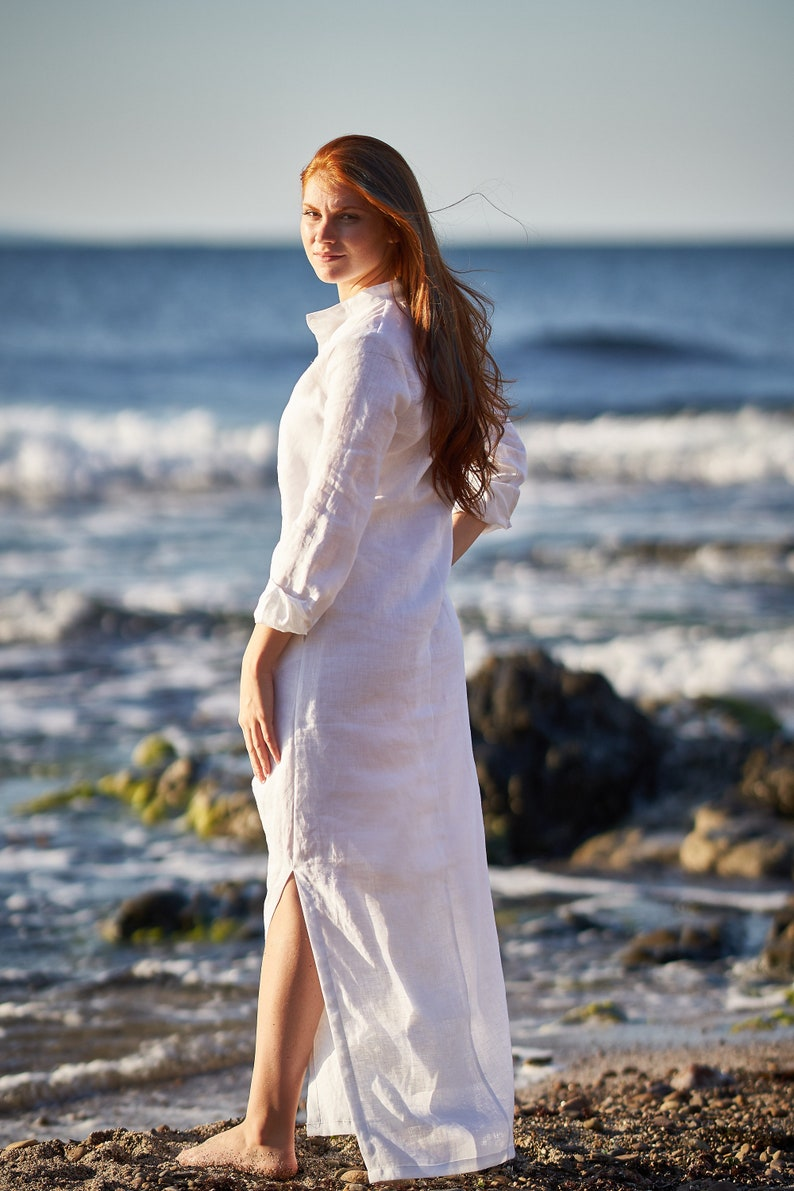 Shirt Dress Plus Size Clothing Bohemian Wedding Linen Maxi Dress White Linen Dress Linen Kaftan Dress Plus Size Dress Plus Size Linen