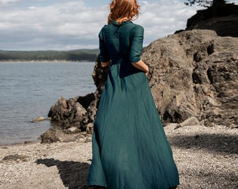 Emerald Green Linen Dress, Linen Wrap Dress, Linen Clothing, Plus Size Dress for Women, Long Wrap Linen Dress, Maxi Dress Linen Kaftan Dress