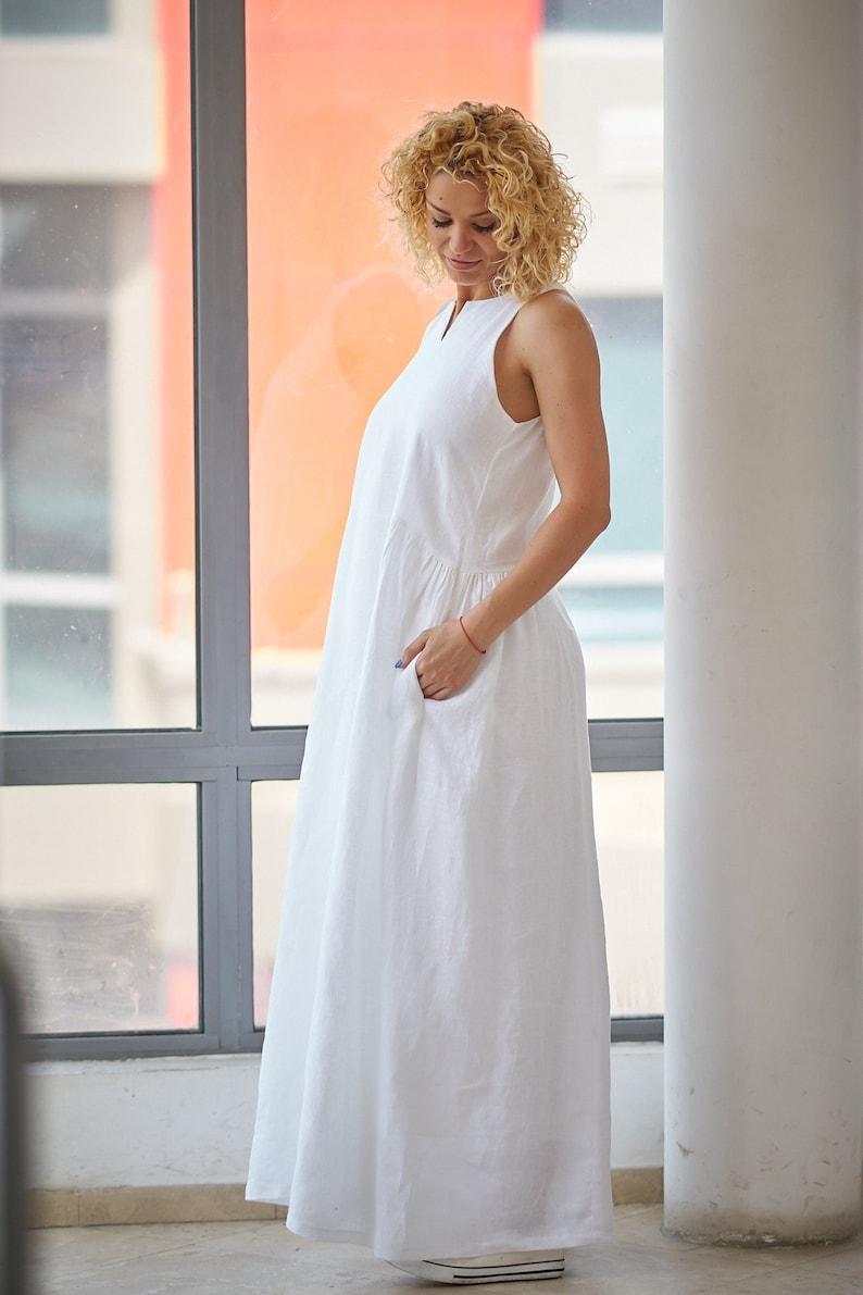 White Linen Dress, Linen Maxi Dress, Plus Size Dress, Summer Dress, Linen  Wedding Dress, Sleeveless Dress, Casual Wedding Dress, Maxi Dress