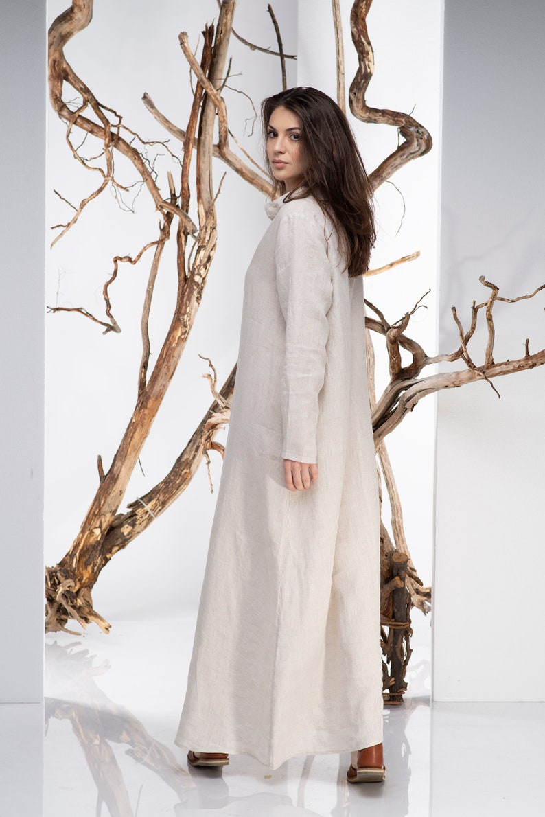 Summer Wedding Dress Plus Size Clothing Kaftan Wedding Dress Linen Clothing Women Boho Wedding Dress Simple Wedding Dress Linen Dress