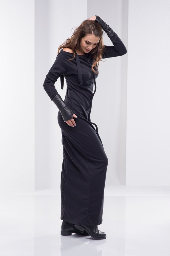 Black Maxi Dress, Women Black Dress, Plus Size Clothing, Gothic Dress, Long  Dress, Steampunk Dress, Bohemian Clothing, Women Clothing