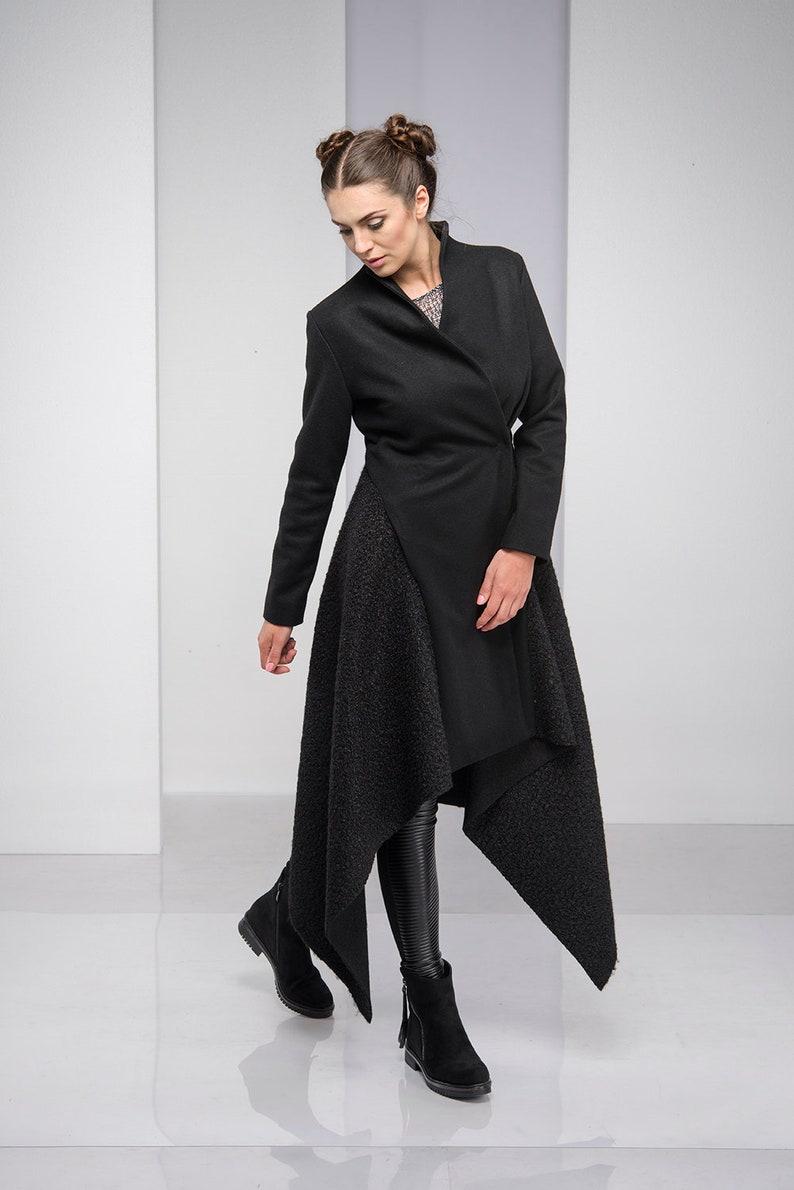 Lange Zwarte Winterjas.Winterjas Asymmetrische Vacht Zwarte Jas Wollen Kleding Etsy