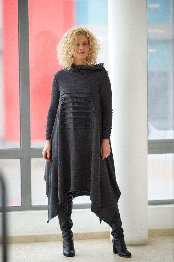 Plus Size Dress, Hooded Dress, Gothic Dress, Black Maxi Dress, Plus Size  Maxi Dress, Sweater Dress, Urban Clothing, Loose Bohemian Dress