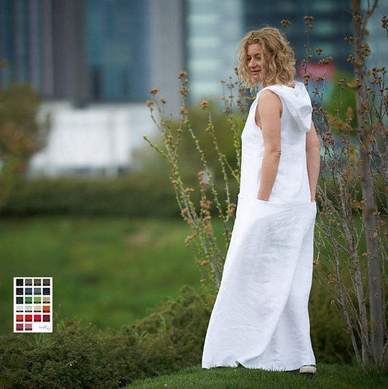507212ea77 White Linen Dress Linen Maxi Dress Hooded Dress Plus Size