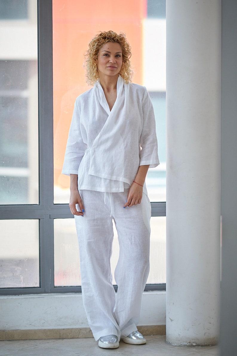 f67d7765b59 Women Set Linen Clothing White Summer Set Top And Pants
