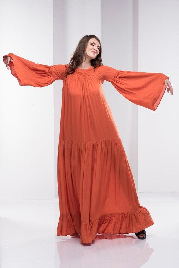 Women Kaftan Dress, Abaya Dress, Plus Size Maxi Dress, Orange Kimono Dress,  Plus Size Clothing, Plus Size Caftan Dress, Boho Maxi Dress
