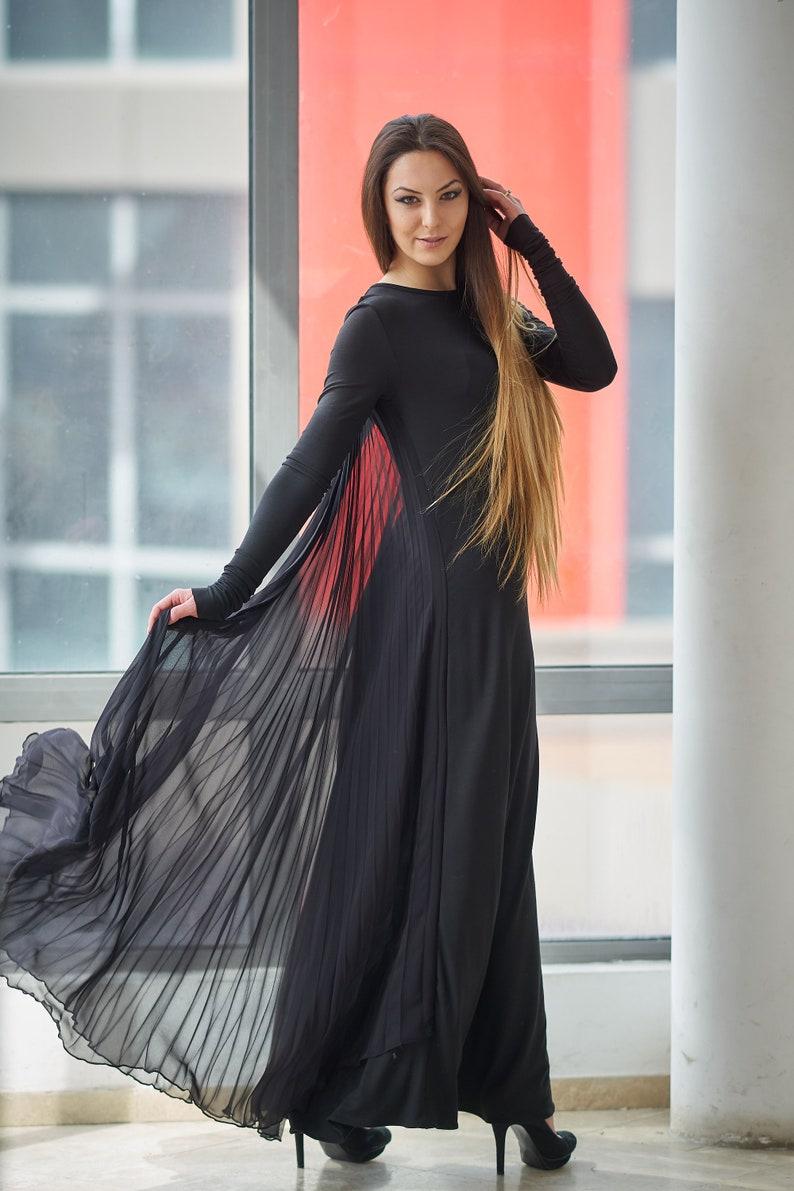 4d12cc11d008 Maxi abito Abito da sposa nero di vestirsi gotico Prom