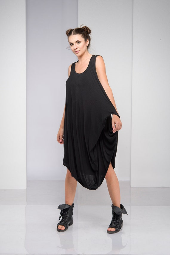 Dress For Women, Black Dress, Plus Size Clothing, Black Midi Dress, Black  Tank Dress, Gothic Clothing, Plus Size Dress, Oversized Dress
