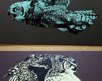 """Great Horned Owl in Flight (yellow & blue designs- TWO PIECES) - 16 X 20"""" two-color screenprint, Edition of 30"""