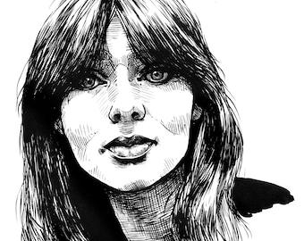 "Nico- 8 x 10"" Archival Print From Original Ink Illustration"