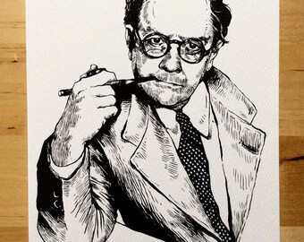 """Drunk Authors: Raymond Chandler Greeting Card With Quote, 5X7"""" A7 card with envelope"""