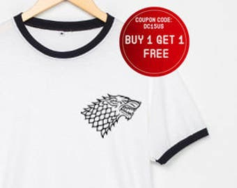 6283cf02 Game of Thrones Shirt Pocket Wolf T-Shirt Ringer Tshirt Tee Women Men T  Shirts Size S M L XL - 3XL White Black , Blue , Red Rim