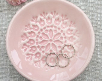 Ring Dish - Trinket Dish - Jewelry Dish - Ceramic Blush Pink
