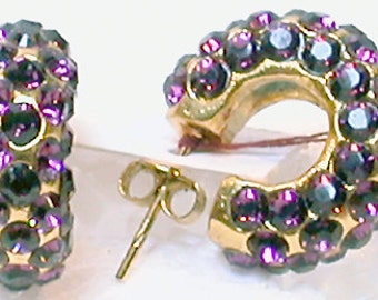 French Earrings Pierced  Bejeweled Circles Violet Glass Jewels and Bronze