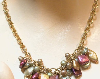 Natural Stone & Fresh Water Pearl Necklace