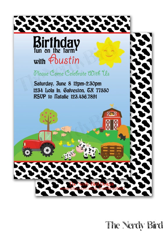 Farm cow print design printable birthday invitation etsy image 0 filmwisefo
