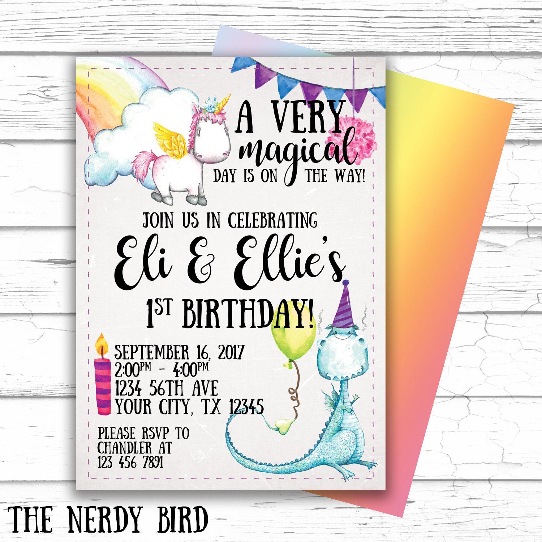 Unicorn Birthday InvitationPrintableDragon Birthday   Etsy