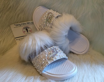 25e21141458a9 Bedazzled Nike Fur Slides