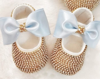 d29ddc04e0a Handmade Swarovski Crystals Cute Baby Shoes and Hairband Set   Luxury Baby  Gift   Baby Girl Gift  Gifts for Baby Girl   Blue Baby Girl Shoes