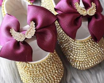 Handmade Swarovski Crystals Purple bling Baby Girls Shoes   Rhinestone baby  shoes   cute Baby Girl Shoes   Unique baby gift  Bling baby shoe 62c093e76fc1
