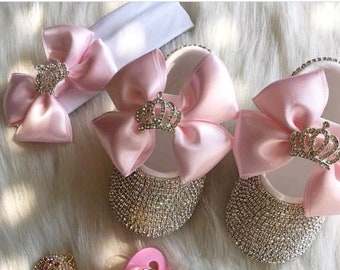 Handmade 2 piece Swarovski Crystals Bling Baby Shoes Hairband Gift Set    Baby Girl Shoes and Headband Set  Newborn girl shoes  Bling Shoes 7bdf0c9803