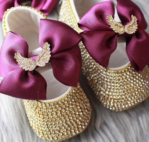 7ba2b8256ac4c Handmade Swarovski Crystals Purple bling Baby Girls Shoes / Rhinestone baby  shoes / cute Baby Girl Shoes / Unique baby gift/ Bling baby shoe