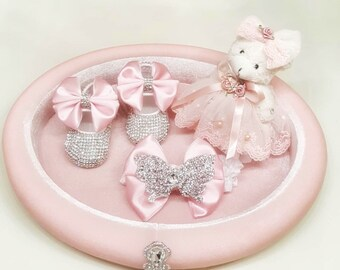 Handmade Swarovski Crystals Bling Baby Shoes and Hairband / Baby Girl Shoes / Newborn girl shoes / Customized baby shoes / Baby name shoes