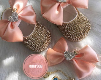 Handmade 3 piece  Swarovski Crystals Bling Baby Shoes Hairband Pacifier Clip Gift Set / Baby Girl Shoes / Newborn girl shoes /Baby Girl Gift