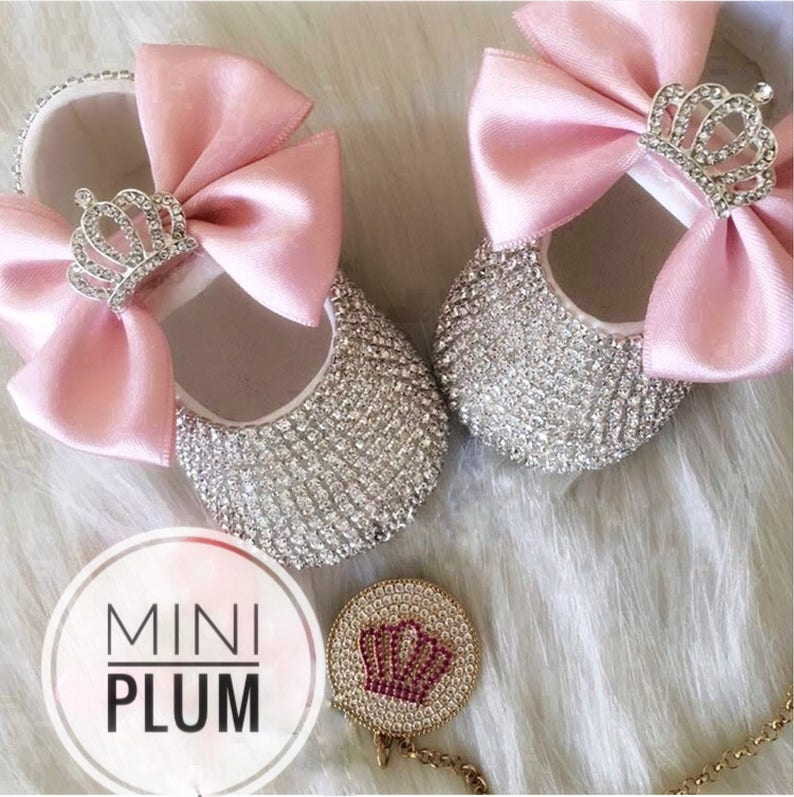 8016a9dba0823f Handmade Swarovski Crystals Crown Pink Baby Shoes and Pacifier