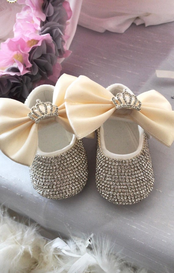 063d37e9952a8 Handmade Swarovski Crystals Crown Pink Custom Baby Girl Shoes /  Personalised Baby Shoes /Name Baby Shoes / Bling Baby Shoes
