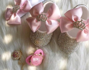 Handmade 3 piece  Swarovski Crystals Bling Baby Shoes Hairband Pacifier Clip Gift Set / Baby Girl Shoes / Newborn girl shoes /Baby Gift